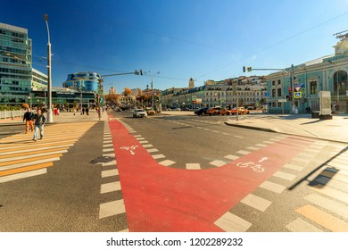 Moscow - October, 2018: Trubnaya Ploshchad is a square in Central Administrative District of Moscow, on Boulevard Ring. Petrovsky Boulevard, Christmas Boulevard, Neglinnaya Street, Tsvetnoy Boulevard