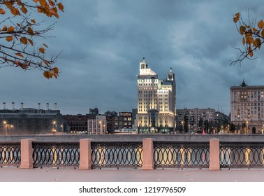 "Moscow - October 21, 2018: Evening. View from the Taras Shevchenko Embankment. The Investment Financial House ""Capital"" and Krasnopresnenskaya Embankment"