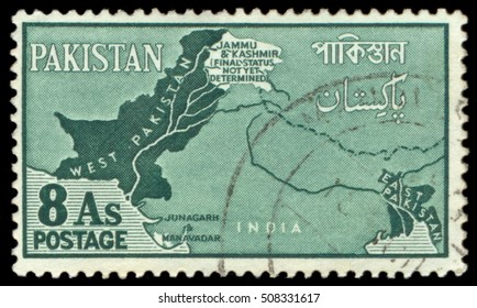 MOSCOW, October 25, 2016: A Pakistani stamp from 1960 showing Jammu and Kashmir's status as 'not yet determined'.