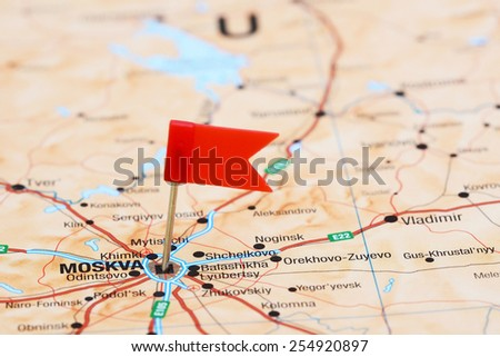 Moscow Pinned On Map Europe Stock Photo Edit Now 254920897