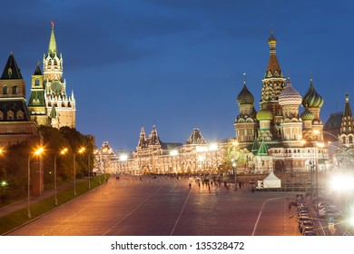 Moscow, Red Square, Saint Basil Church and Spasskaya Tower in the evening with lights