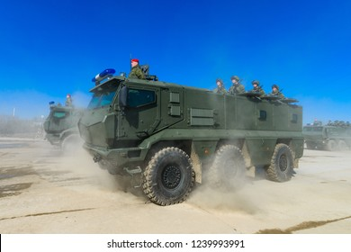 "Moscow region, Alabino / Russia - 04 13 2018:  repetition of military parade. Victory Day in World War 2. Military police, MRAP KAMAZ-63968 ""Typhoon-K"""