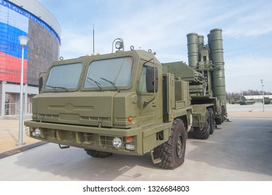 """MOSCOW REGION, ALABINO, RUSSIA - April 13, 2016 : Launcher 5P85TE2 with truck BAZ-64022 Russian anti-aircraft missile system S-400 in the military-Patriotic Park """"Patriot"""", ront view"""