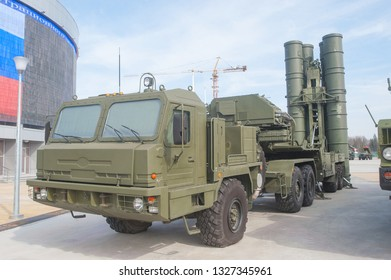 """MOSCOW REGION, ALABINO, RUSSIA - April 13, 2016 : Launcher 5P85TE2 with truck BAZ-64022 Russian anti-aircraft missile system S-400 in the military-Patriotic Park """"Patriot"""""""