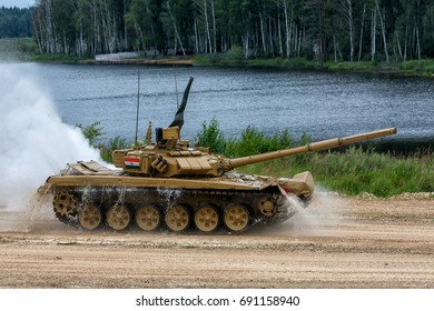 "Moscow region - August 06: the T-90 Tank. At the international games in 2017. Military-Patriotic Park ""Patriot"". 06 Aug 2017. Russia, Alabino."