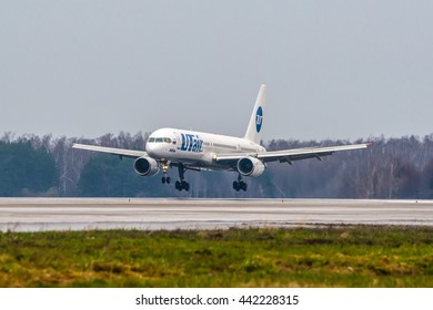 Moscow region, Domodedovo airport, Russia - April 24, 2013: Beoing 757-200 Utair airlines VP-BLV landing at heavy rain at Domodedovo international airport