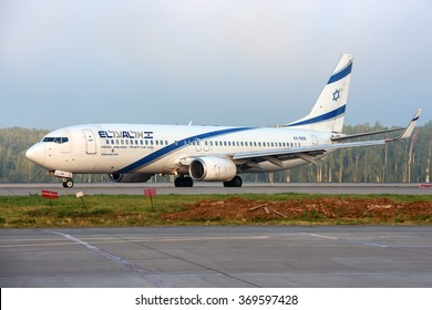 Moscow region, Domodedovo, Russia - July 07, 2014: Boeing 737 4X-EKB El-AL Israel airlines taxiing after landing at Domodedovo international airport