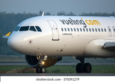 Moscow region, Domodedovo, Russia - July 07, 2014: Airbus A320 EC-MBE Vueling airlines taxiing for take off at Domodedovo international airport