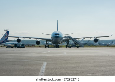 Moscow region, Domodedovo, Russia - July 07, 2014: Airbus A340-300 B-HXD Cathay Pacific Airways standing at Domodedovo international airport