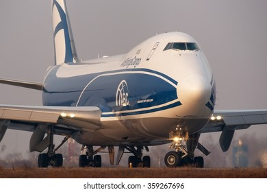 Moscow region, Domodedovo, Russia - November 04, 2014: Boeing 747-400 VQ-BUU ABC - Air Bridge Cargo taxiing for take off at Domodedovo International airport.