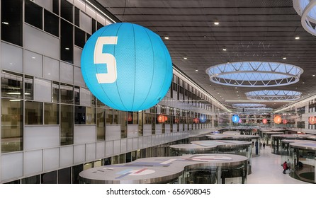 Moscow region. February 15, 2017. Skolkovo. Technopark. Top view on the hall, pavilions and a large blue balloon with a numeral of five.