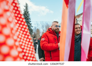 MOSCOW REGION, FRYAZINO, GREBNEVO ESTATE - MARCH 09 2019: Samy Naceri French star and actor of Taxi films and his brother Bibi Nacery visiting the Grebnevo estate during Maslenitsa celebration