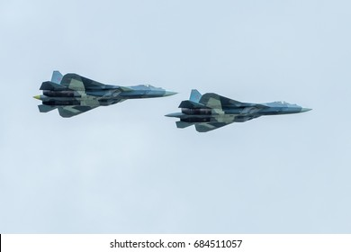 Moscow Region - July 21, 2017: New Russian fifth-generation fighters Su-57 (Sukhoi PAK FA) at the International Aviation and Space Salon (MAKS) in Zhukovsky.