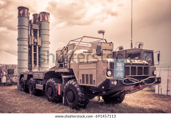 Moscow Region - July 21, 2017: S-400 Triumf Russian anti-aircraft weapon system in combat position at MAKS, Russia. It is the best rocket missile system in the world. Modern technologies of defense.
