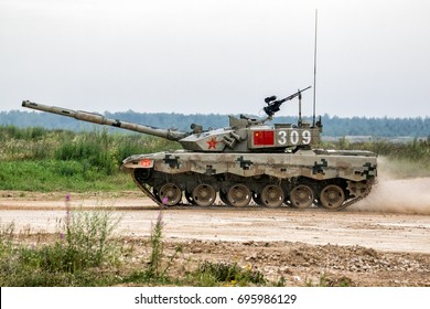 "Moscow region - July 29: Modernized Chinese tank ZTZ-99A2. At the international games in 2017. Military-Patriotic Park ""Patriot"". 29 Jul 2017. Russia, Alabino."