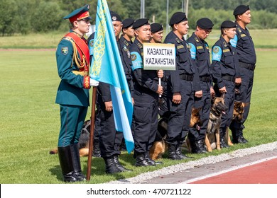 """Moscow region - July 31: the First international canine contest """"a True friend"""". At the international games - 2016. July 31, 2016. Russia. Knyazheno."""