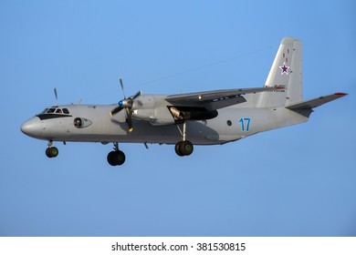 Moscow region, Ostafievo, Russia - February 21, 2015: Russian transport airplane Antonov An-26 RF-46537 of the Russian Navy landing at Ostafievo international airport.
