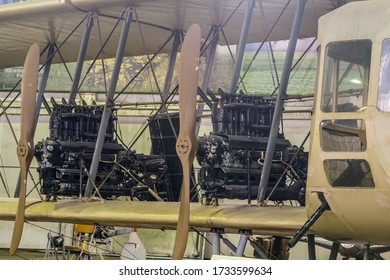 Moscow Region, Russia - 01, 02, 2020: Engines of a four-engine wooden airplane Ilya Muromets at the Museum of the Armed Forces, Monino