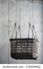 Moscow Region, Russia - 01, 02, 2020: Old balloon basket at the Museum of the Armed Forces, Monino
