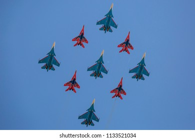 Moscow region, Russia. 05/12/2018. Flight of combat aircrafts of the aerobatic team