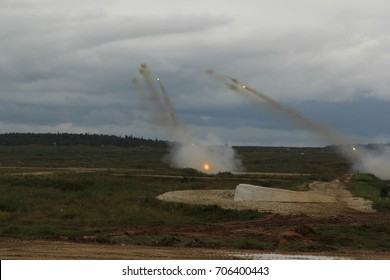 """Moscow Region, Russia - 26 August:  International Military-Technical Forum «ARMY-2017», Patriot expocenter. Military Show """"POLITE PEOPLE"""". The Katyusha multiple rocket launcher"""