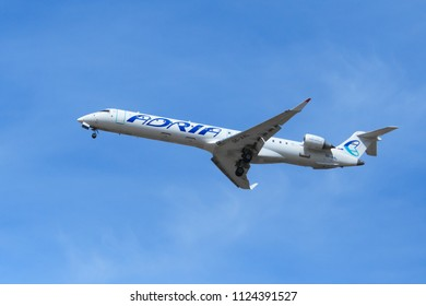 "Moscow region, Russia, april 2018: Slovenian Airlines plane ""Adria Airways"" in the blue sky (editorial)"