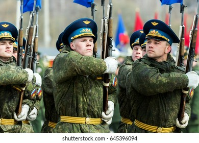 Moscow region, Russia - April 21: General rehearsal of the military parade  of the 72nd anniversary of the Victory in the great Patriotic war Victory Day on 9 may. 21 April 2017, Russia. Alabino.
