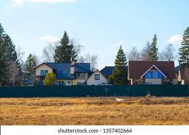 Moscow region. Russia - April, 3, 2019: village at a spring in Moscow region
