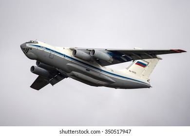 Moscow region, Russia - August 22, 2014: Iltyushin Il-76 RA-76725 of the Russian Air Force takes off at Chkalovsky.
