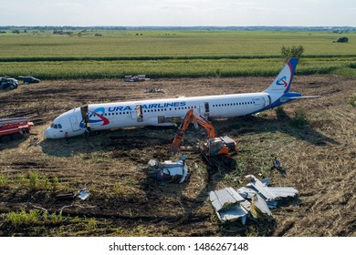 MOSCOW REGION, RUSSIA - AUGUST 23, 2019: An aerial view of the Ural Airlines' Airbus A321 jet airliner after the crash landing in a corn field near Zhukovsky International Airport on August 15