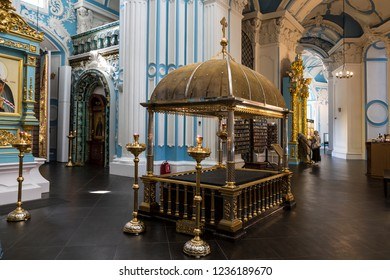 MOSCOW REGION, RUSSIA - AUGUST 27, 2018:The interior of the Resurrection Cathedral of the Resurrection with a copy of the anointing stone from the Church of the Holy Sepulchre in Jerusalem in Israel