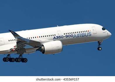 MOSCOW REGION, RUSSIA - AUGUST 27, 2015: Airbus A350 XBW passing by with landing gear extended