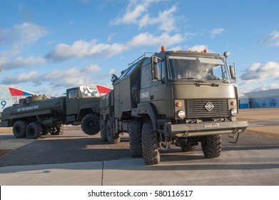 "MOSCOW REGION, RUSSIA - DECEMBER 8, 2015 : Repair and recovery vehicle REM-KL on the basis of Ural-532362 towing truck KrAZ-260 in the new military Park ""Patriot"""