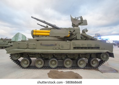 "MOSCOW REGION, RUSSIA - DECEMBER 8, 2015 : Russian anti-aircraft gun-missile complex 2K22 ""Tunguska"" (SA-19 Grison) in the Park ""Patriot"", the view on the left side"