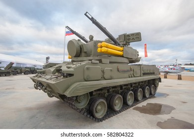 "MOSCOW REGION, RUSSIA - DECEMBER 8, 2015 : Russian modern anti-aircraft gun-missile complex 2K22 ""Tunguska"" (SA-19 Grison) to the Patriot Park"