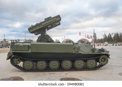 "MOSCOW REGION, RUSSIA - DECEMBER 8, 2015 : The Russian war machine 9A35 anti-aircraft complex 9K35 ""Strela-10"" (SA-13 Gopher) in the ""Patriot"" Park, side view"