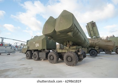 """MOSCOW REGION, RUSSIA - DECEMBER 8, 2015 : Soviet mobile coastal missile complex """"Rubezh"""" ( SSC-3 """"Styx"""") in the Patriot Park"""