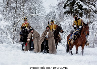 Moscow region, Russia — February 10: participants in the Military-historical reconstruction of the Russian and French armies of Napoleon in 1812. Moscow region, Aprelevka, February 10, 2018, Russia