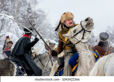 Moscow region, Russia — February 12: historical reconstruction of the cavalry battle between the Russian and French armies of Napoleon in 1812.  Aprelevka, February 12, 2018, Russia