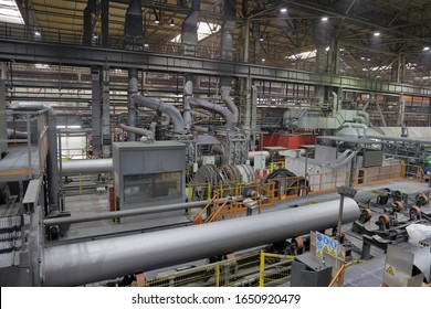 Moscow region, Russia - February 15, 2020: Zagorsk Pipe Plant. Industrial production workshop for the oil and gas industry