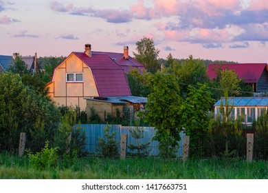 Moscow region, Russia - June, 2, 2019: image of the Moscow region village at sunset