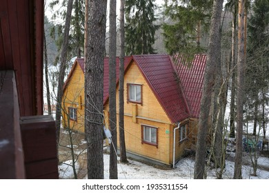 Moscow region, Russia, March 2017, wooden house in a pine forest
