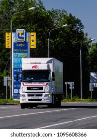 Moscow region, Russia - May, 21, 2018: truck passes by petrol station in Moscow region, Russia