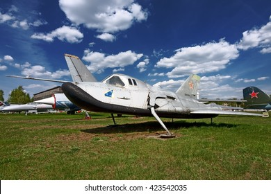 MOSCOW REGION, RUSSIA - MAY 9, 2016: Mikoyan-Gurevich prototype of sub-orbital shuttle MiG-105 105.11 EPOS on display at Monino Air Force Museum