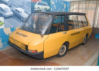 Moscow region, RUSSIA - November 16, 2011: Soviet old experienced taxi car VNIITE in the state Military technical Museum in Chernogolovka, Moscow region