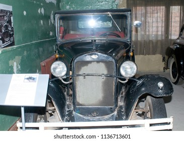 Moscow region, RUSSIA - November 16, 2011: Soviet old car GAZ-A taxi with a closed body in the state Military-technical Museum in Chernogolovka, Moscow region, front view.