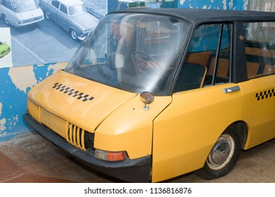 Moscow region, RUSSIA - November 16, 2011: Soviet old experienced taxi car VNIITE in the state Military technical Museum in Chernogolovka, Moscow region. Fragment