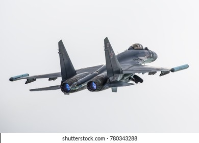 Moscow region, Russia - September 2016: Russian modern military jet Sukhoi Su-35 taking off at Kubinka military air force base.