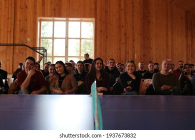 Moscow region, Russian Federation, February 2017, a large group of people at a business training