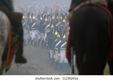 MOSCOW REGION - SEPTEMBER 02: Unknown soldiers at Borodino historical reenactment battle at its 200 anniversary. Taken on September 02, 2012 in Borodino, Moscow Region, Russia.